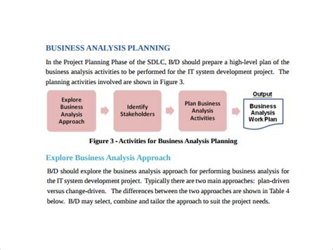 business analysis work plan template sle business analysis 10 documents in pdf