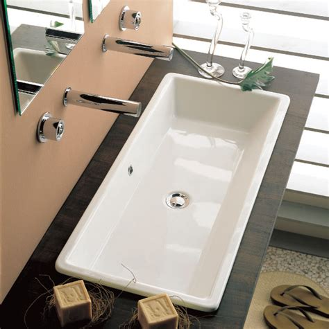 long bathroom sinks rectangular white ceramic vessel or built in sink