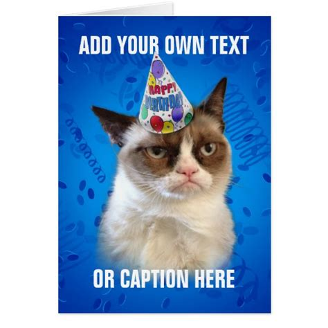 Happy Birthday Cat Card Grumpy Cat Customizeable Happy Birthday Card Zazzle
