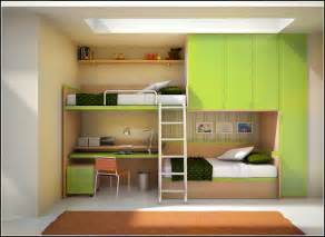 Wide skylight above minimalist bunk bed with desk and green wardrobe