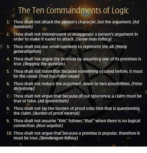 Ad Hominem Meme - the ten commandments of logic 1 thou shalt not attack the