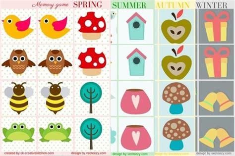 printable memory card games for preschoolers seasons memory game free printables creative kitchen