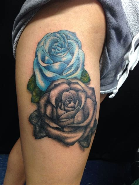 blue and black rose tattoo blue for expecting the with black and