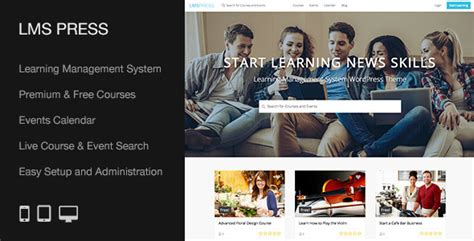 themeforest lms lms press learning management system wp theme by