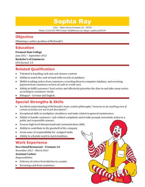 mcdonald s cashier resume template resume templates and sles