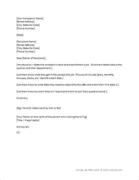 Offer Letter Vacation Offer Letter Templates Sles And Templates