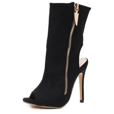 suede gold zip peep toe open heel stiletto boots