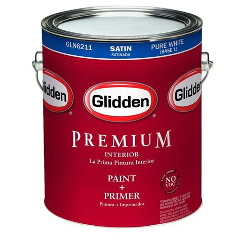 glidden premium 1 gal white satin interior paint