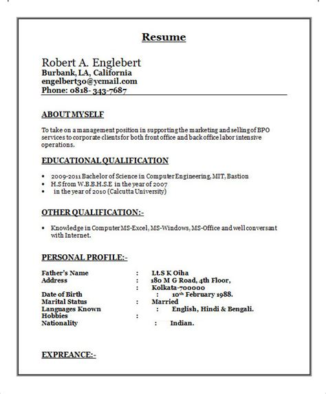 Resume Templates Docs In by Sle Bpo Resume 16 Documents In Word Pdf