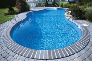 Vinyl liner pool with stone patio
