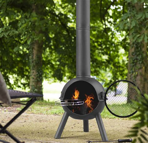 chiminea with cooking grill by garden leisure