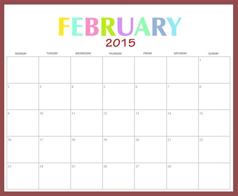 download february 2015 calendar landscape template