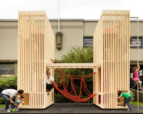 Upholstered X Bench - modern playhouses that make perfect backyard additions