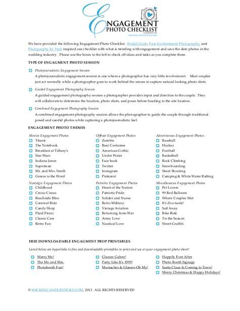 wedding checklist engagement engagement photo checklist