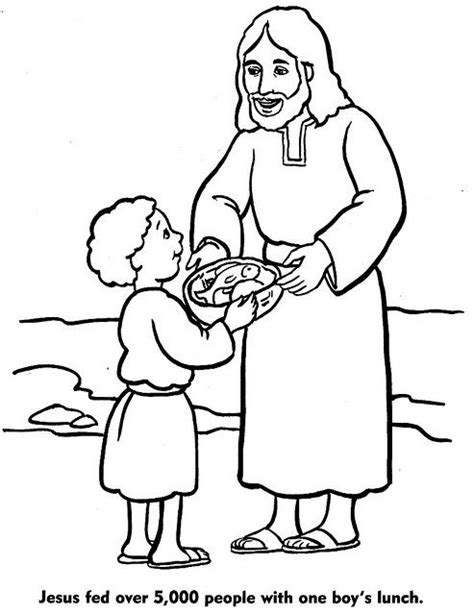 Free Coloring Pages Of Jesus Feeds Five Thousand