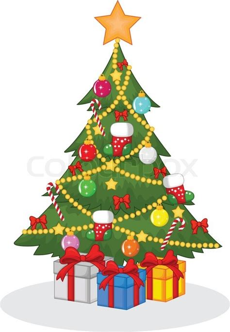 cartoon christmas tree december vector illustration of decorated tree stock vector colourbox