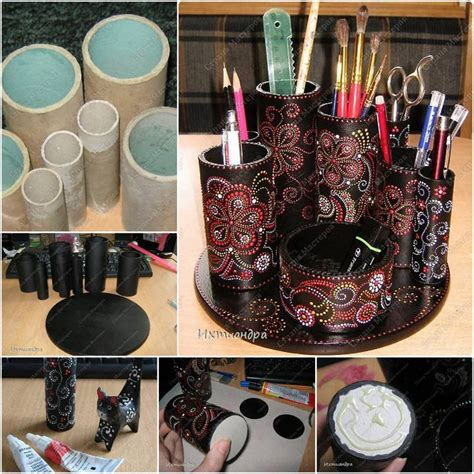 Paper Rolling Craft Ideas - paper roll desktop organizer diy cozy home