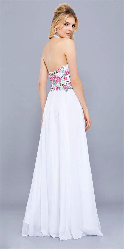 white embroidered bodice halter open back formal dress discountdressshop
