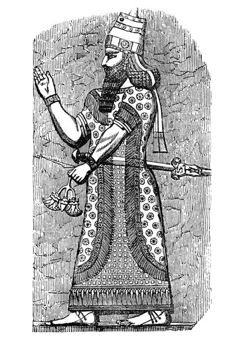Coloring page assyrian king - free printable coloring pages