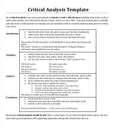 Critical Essays For Free by Critical Analysis Template How To Decide Whether To Use