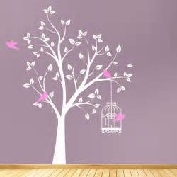 Art Wall Stickers Beautiful Tree With Bird Cage And Flying Birds Wall Art