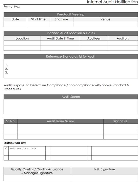 internal audit template sop exle quality report