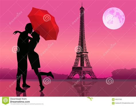 photography lovers couple of lovers in paris at night moon on background