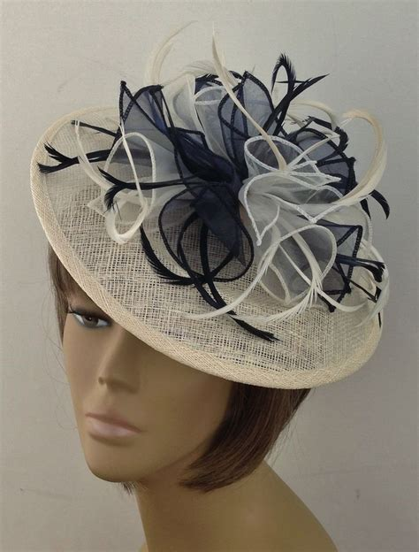 fascinators for mother of the bride special guests bespoke cream navy blue hat fascinator mother of the bride groom weddings races ebay