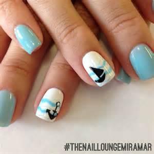 blue anchor sailboat gel nail nail