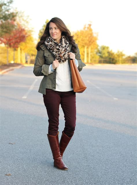 Boot Maroon Leopard burgundy jeggings burgundy cognac boots and leopard scarf