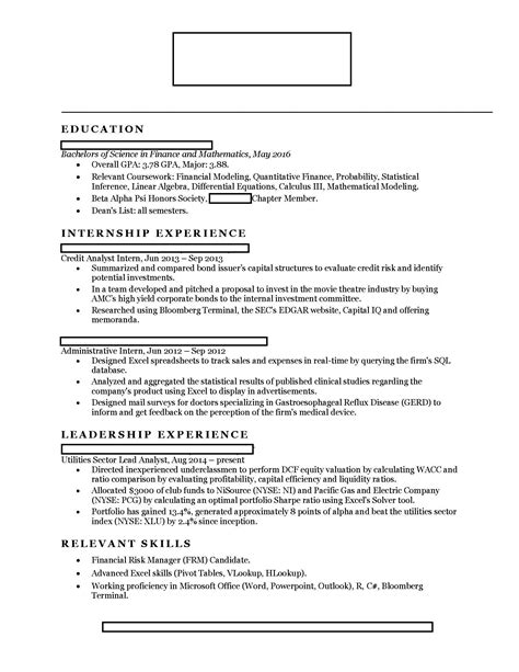 One Page Resume Examples by Finance Looking For Internships In Investment Banking