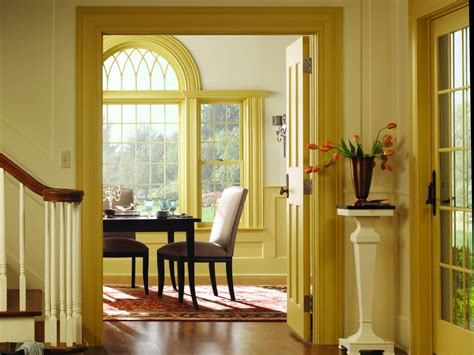 yellow foyer tips for choosing window casings home remodeling ideas
