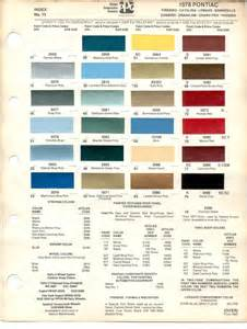 Pontiac Paint Codes Pontiac Paint Charts Reference Page By Tachrev