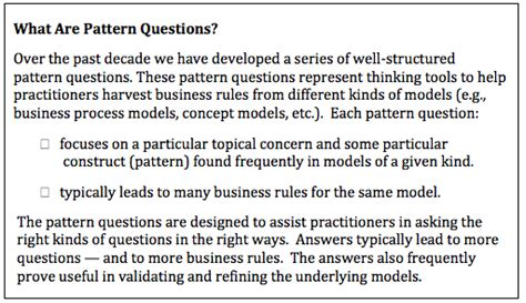 pattern rule questions business rules solutions pattern questions for harvesting