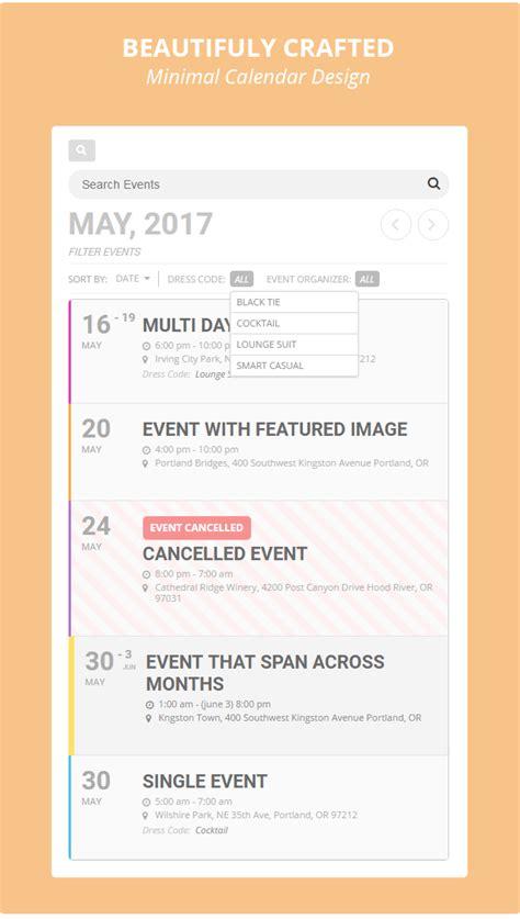 event calendar design html eventon wordpress event calendar plugin by ashanjay