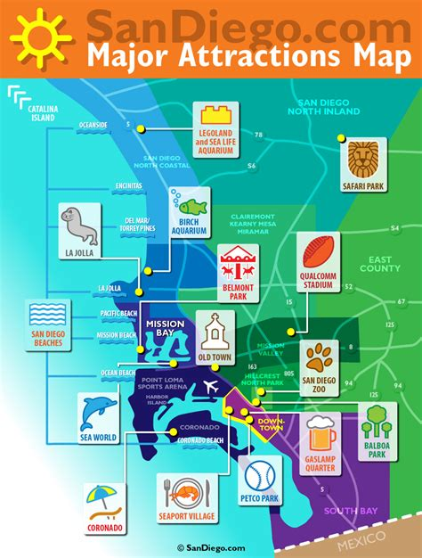 san diego map usa maps update 14882105 tourist attractions map in san