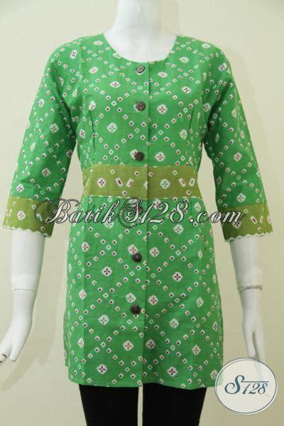 desain baju batik hijau baju blus batik hijau motif terbaru trend masa kini