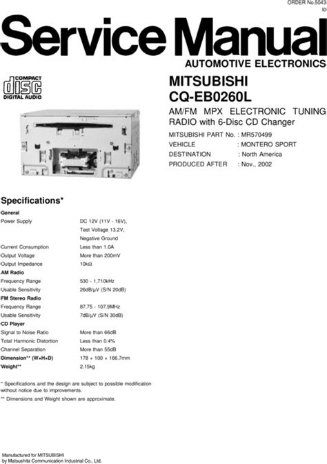 auto repair manual online 1989 mitsubishi truck electronic toll collection mitsubishi cq eb0260l 6 disc cd changer service manual download m