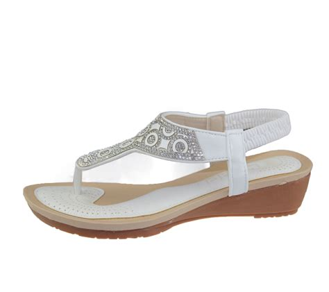 Wedge Heel Wedding Sandals by Womens Diamante Sandals Summer Wedge Heel Toe Post