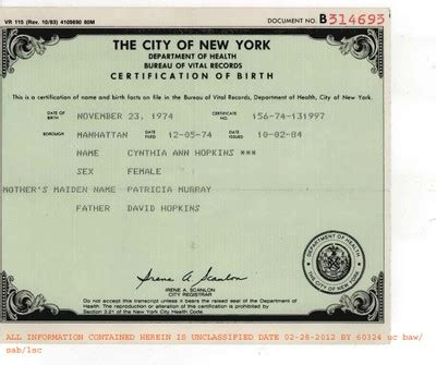 Birth Records New York Fbi Fraudulent Birth Certificate Of Cynthia