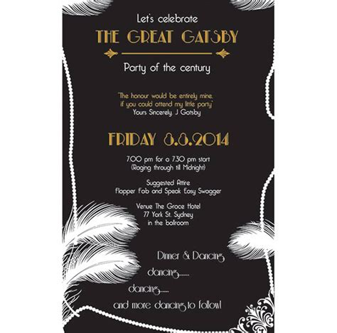 great gatsby invitation on behance