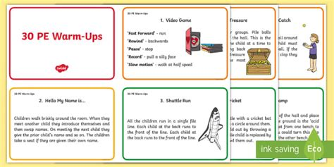 dance themes ks2 30 warm up ideas for pe cards pe warm up activities ideas