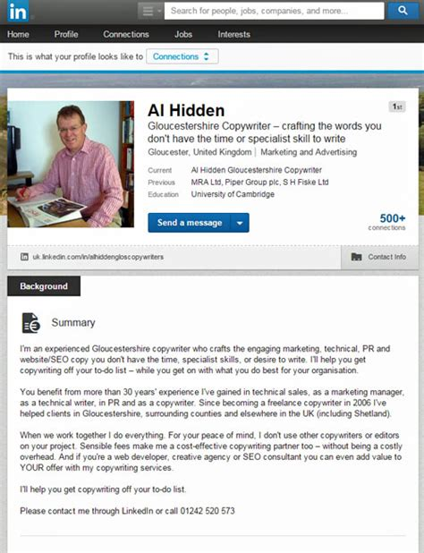 linkedin profile page exles gallery