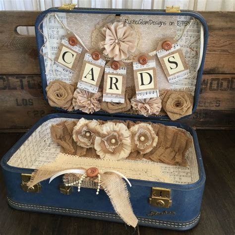 Table Table Gift Card - vintage suitcase wedding card holder rustic wedding gift table card box country
