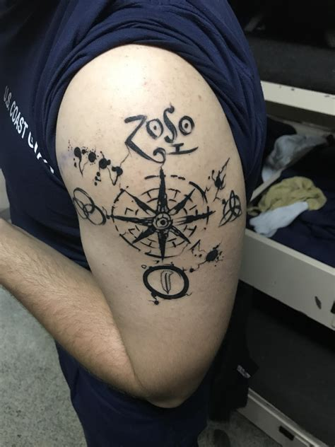 foolish pride tattoo led zepplin and compass composed of ink blots by
