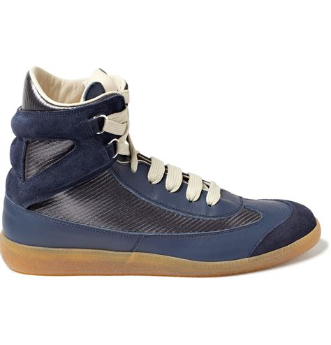 maison martin margiela sneakers maison martin margiela leather high top sneakers in blue