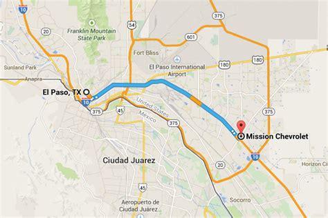 el paso map driving directions to mission chevrolet el paso chevrolet