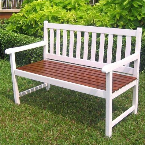 white outdoor bench acacia patio garden bench in white vf 4110 wt ok