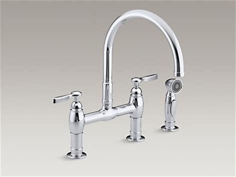 kohler parq two hole deck mount kitchen sink faucet with 9 kohler k 6131 4 parq deck mount bridge kitchen sink