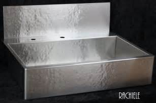 apron sink with backsplash rachiele custom hammered stainless apron front sinks made